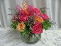 Pink Polka Dot Fresh Rose Arrangement