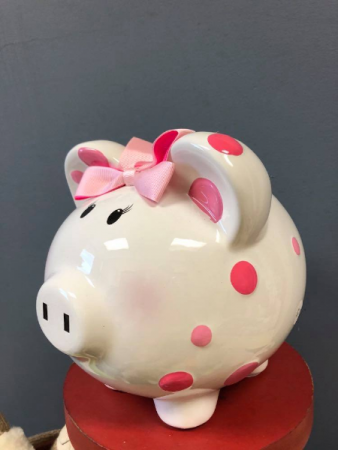Pink Polka dot Piggy Bank