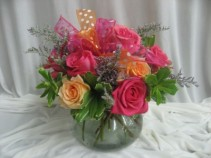 Pink Polka Dot Vased Rose Arrangement