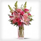 PINK POSIES AND LILLIES VASE