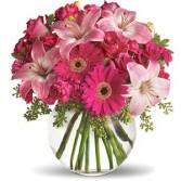 Pink Potpourri Round Glass Bowl Arrangement