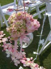 Pink Princess Aisle Markers Wedding Flowers