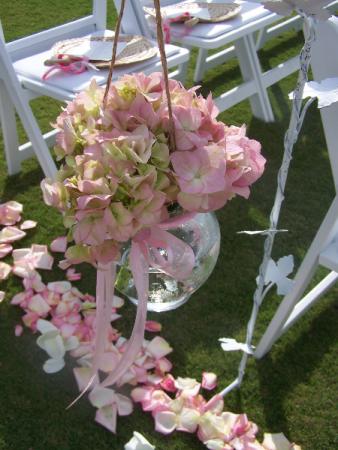 Pink Princess Aisle Markers Wedding Flowers