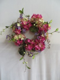 Pink Purple & Ivory Hydrangea Silk Wreath Silk Floral  Wreath