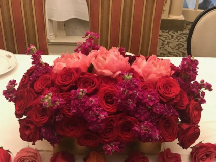 Pink & Red Fusion oblong arrangement