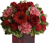 Pink & Red Medley Red Cube Vase