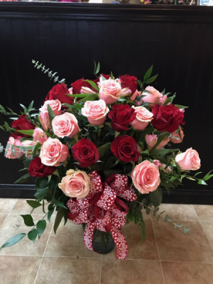 Pink & Red Two Dozen Roses  in Macon, GA | PETALS, FLOWERS & MORE