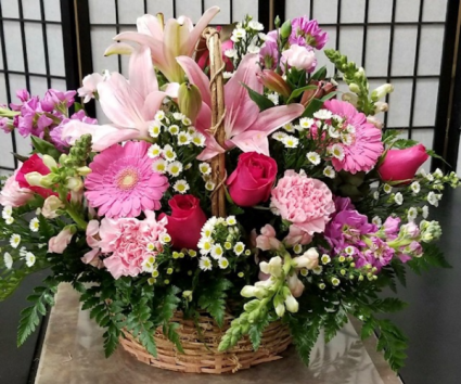 Pink Reflection  Basket Arrangement