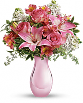 Pink Reflections Bouquet with Roses Fresh Arrangement