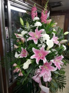 Pink Rememberance Standing Spray in Albany, NY | CENTRAL FLORIST