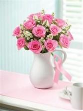 Pink Ribbon Rose Boquet All around