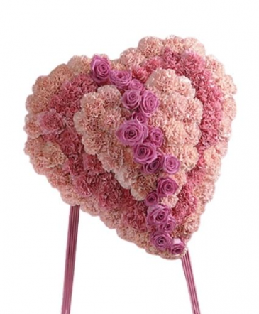 Pink Rose and Carnation Heart Funeral