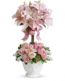 Pink Rose And Lily Topiary Flower Arrangement