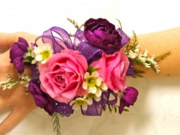 Pink Rose And Mixed Flower Corsage Wrist Corsage In Edgerton Wi
