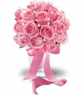 Pink Rose and pearls Bridesmaid bouquet