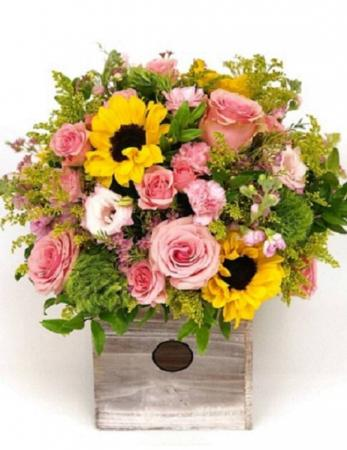 Pink Roses and Sunflowers by Erinn's Creations
