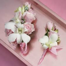 PINK ROSE AND WHITE ORCHID SET CORSAGE AND BOUT SET