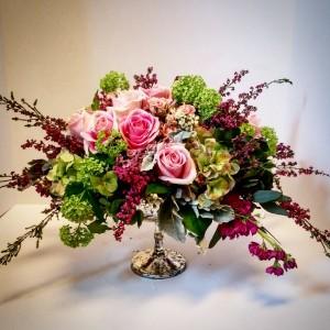 Pink Rose Array Mercury glass pedestal bowl