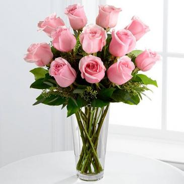 Dozen Pink Rose Bouquet
