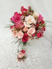Pink Rose Bouquet Set Bouquet and boutonniere