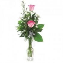 Pink Rose Budvase  Double Rose Vase