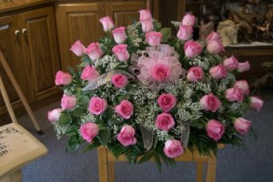 Pink Rose Casket Spray  in Vincennes, IN | ORGAN FLORIST & GREENHOUSES