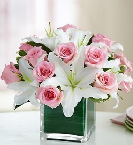 Pink Rose Cube Arrangement