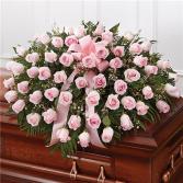 Pink Rose Half Casket Cover
