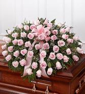 Pink Rose Half Casket Cover casket