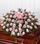 Pink Rose Half Casket Cover Casket Flowers