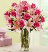 Pink Rose & Lily Arrangement
