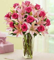 Pink Rose & Lily Arrangement