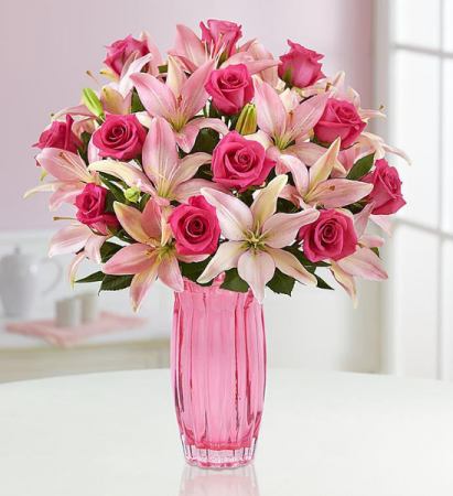 Pink Rose & Lily Bouquet for Mother's Day