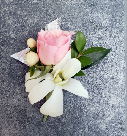 PINK ROSE & ORCHID Boutonniere