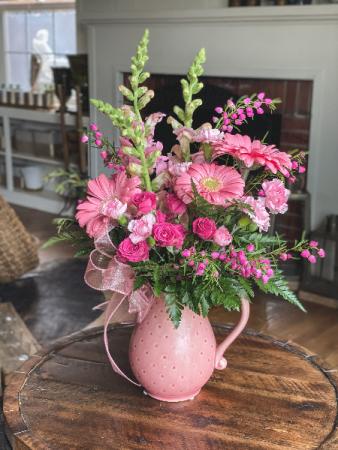 Pink Gerbera Daisy Pitcher Arrangement Mother's Day