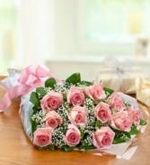 Dozen Pink Roses Presentation Bouquet