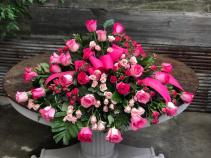 Pink Rose Reflection Casket Cover