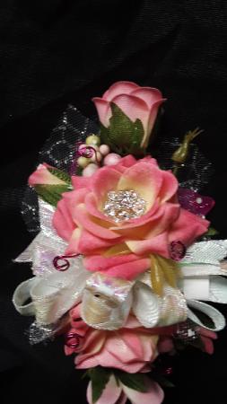 Pink rose sparkle wrist corsage