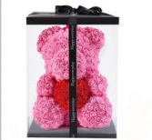 Pink Rose Teddy Bear with Red Heart