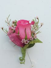 Pink Rose with Pink Ribbon and Wax Flower