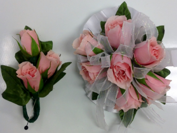 Pink Rose Wrist Corsage & Boutonniere