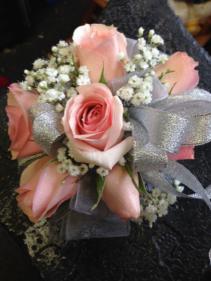 Pink rose wrist corsage Prom