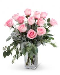 Pink Roses (12)  Flower Arrangement