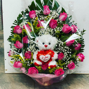 Pink Roses and a Bear Birthday