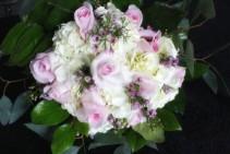 Pink roses and hydrogenateydrangea
