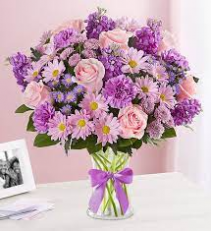 Pink Roses and lavender Bouquet