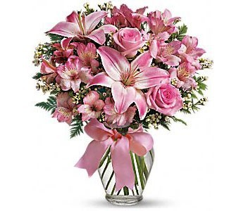 Pink Roses And Lilies Flower Arrangement