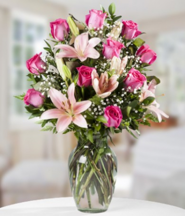 Pink Roses and lilies Vase