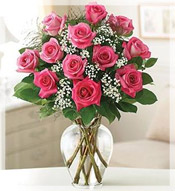 Dozen Pink Roses Arranged in vase