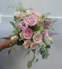 PINK ROSES , ASTILBE, LISIANTHUS,STOCK  WEDDING BOUQUET